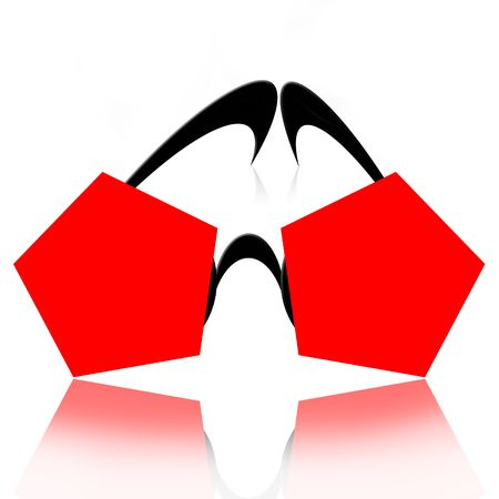ocular: Abstract fancy sunglasses over white background with reflection Stock Photo