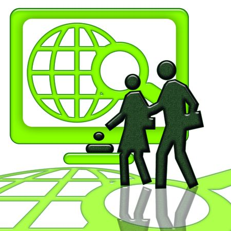 Internet Start Up, Couple near the big computer screen whith internet search symbol isolated over white background photo