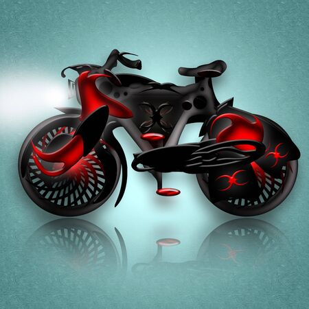 knight horse: Black Knight Bike, Fantastic black agressive powerful knight horse styled bicycle in powerful armor, illustration over icy background with reflection