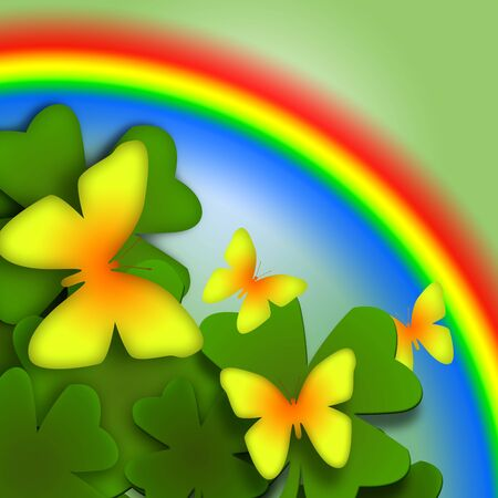 Butterflies and Rainbow, Colorful bright decorative illustration with yellow butterflies, green plants and rainbow Stock Illustration - 6879867