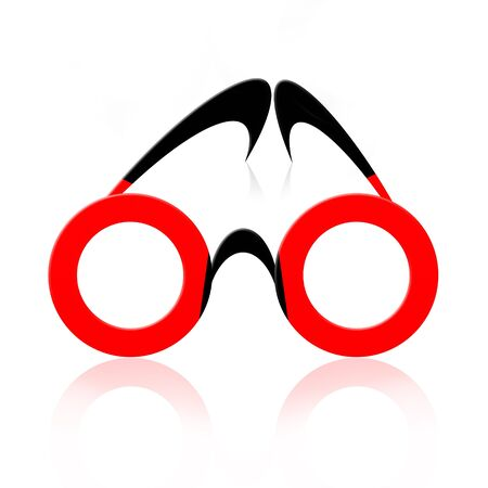 eyewear: Abstract fancy eyeglasses over white background with reflection
