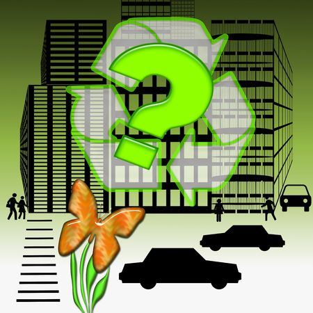 desision: How on Earth, Bright orange butterfly on the flower ask a big green question inside recycle symbol over modern city illustration background Stock Photo