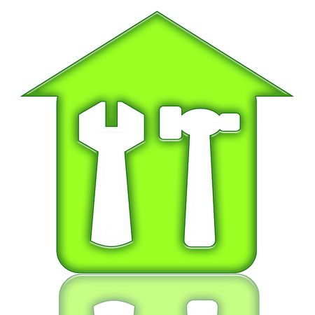 House Renovations Green Icon with House and Tools