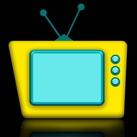 Funny yellow TV with blank screen illustration with reflection isolated over black background illustration