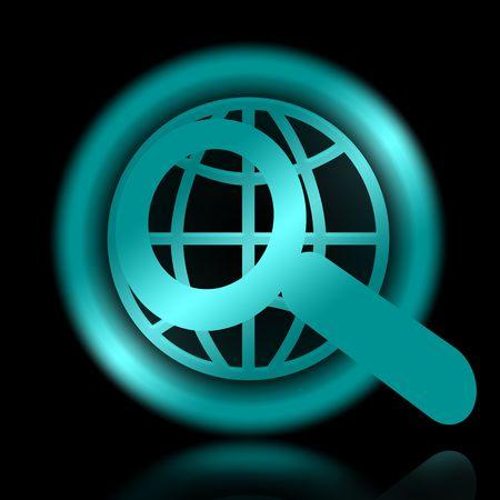 cybernetics: Internet Search, Elegant Magnifier and Globe Symbol over Black Background