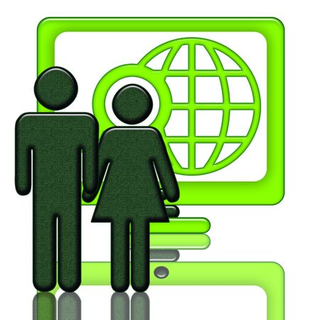 Global Net Start-Up, Couple near the big computer screen whith internet search symbol isolated over white background photo