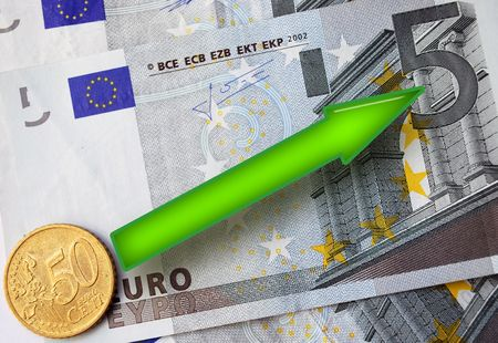 Euro Rising, Green Arrow over Euro Banknotes and Coin indicates Growth photo