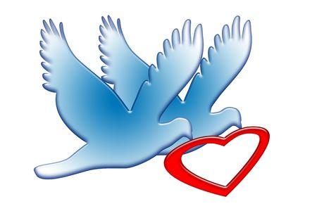 recien casados: Dulce pareja de palomas de amor romántico azul con el símbolo de corazón rojo en picos sobre ilustración simbólica de fondo blanco