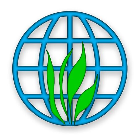 Environmental icon with green grass and blue globe over white background photo