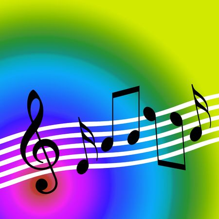 Colorful Music, Musical Symbols over Bright Colorful Sunny Background Stock Photo
