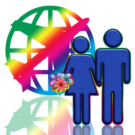 happy client: Happy couple with flowers near the colorful airplane globe emblem Stock Photo