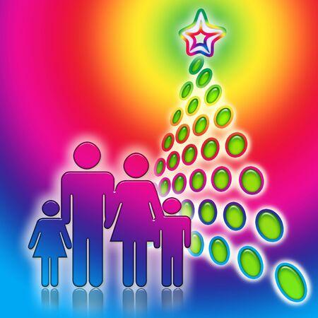 Family Christmas Tree, Happy family near the bright abstract geometric christmas tree, decorative colorful illustration  illustration