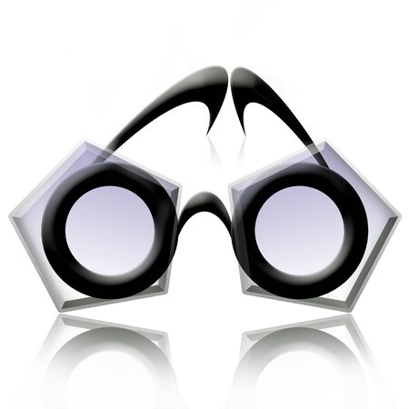 Pentagon Eyeglasses, Abstract fancy futuristic eyeglasses over white background with reflection photo