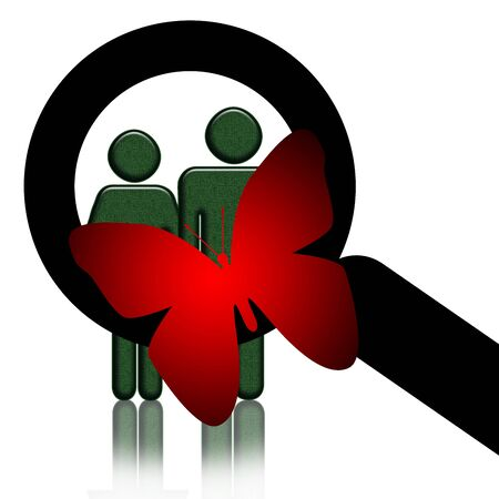 sociologist: Researcher, Red butterfly with magnifing glass research people, illustration good for sociological, psychological, ecological or marketing themes over white background