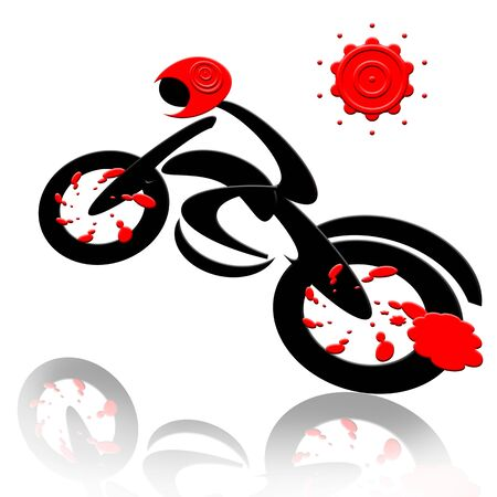 Biker, Abstract extreme sports speed biker and sun isolated over white background Stock Photo - 7087550
