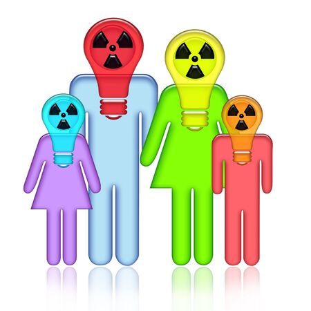 Radioactive abstract family standing together with children in respirators on heads with over white background photo