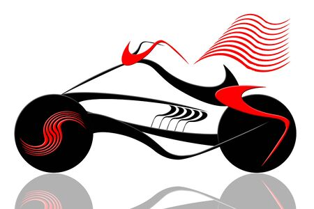Speed sports bike with flag abstract illustration over white background illustration