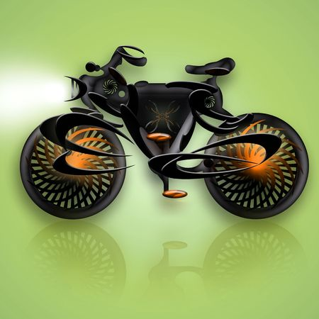headlamp: Bike Black Flame, Futuristic styled concept bike, abstract illustration over green background