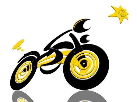 Biker Catch The Sun, Abstract extreme sports speed biker racing with the sun isolated over white background photo
