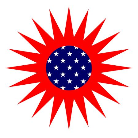 seasonal symbol: Sun estadounidense, Sun aislado sobre fondo blanco de estilo de bandera americana