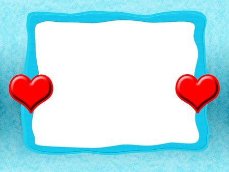 Blue Frame with Hearts, Elegant icy tender romantic blue love frame with red sweethearts and blank white background photo