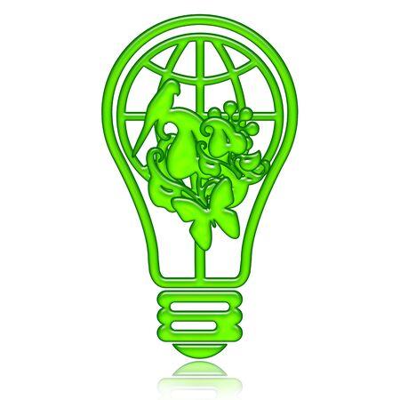 Energy saving lamp with green world inside isolated over white background illustration Stock Illustration - 7376121