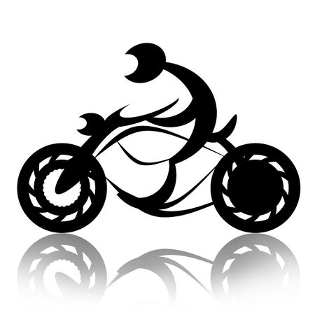 Biker rides motorcycle abstract silhouette illustration over white background illustration