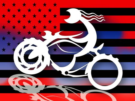 wanderer: American Bikers, White biker silhouette on motorcycle over american flag  styled background illustration Stock Photo