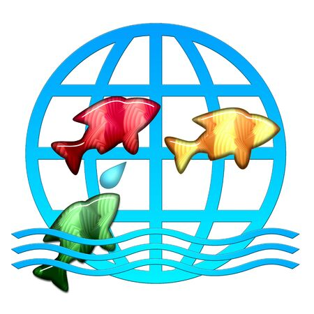 Ð¡olorful fishes jumping over the water, bright joyful illustration isolated over white background Stock Illustration - 7411508
