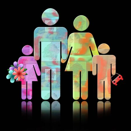 Happy Family, abstract colorful Illustration of parents with two children isolated over black background with reflection Stock Photo