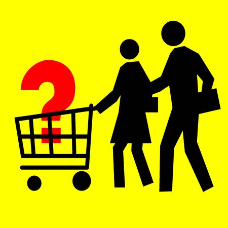Consumer Basket Sign, People with supermarket trolley with red big question symbol inside isolated over yellow background photo
