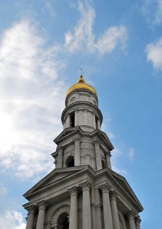 Great Orthodox Church, this high old church a famous landmark in the historical center of Kharkiv City, Ukraine photo