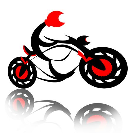cartoon gangster: Biker on motorcycle boost speed and jump isolated over white background with reflection