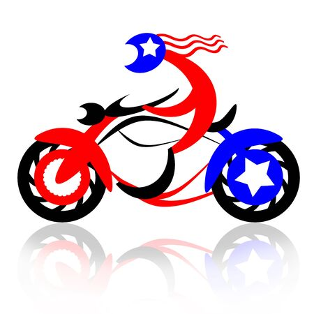 nomad: American Rider, american biker fast riding motorcycle, abstract illustration isolated over white background