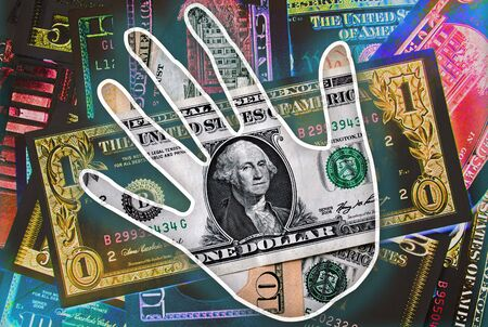 easy money: Easy Money, hand print over colorful big pile american dollars cash, wealth concept