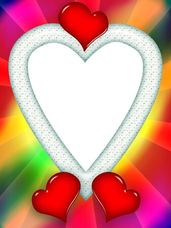 Colorful romantic bright love frame with red hearts and blank white background inside photo