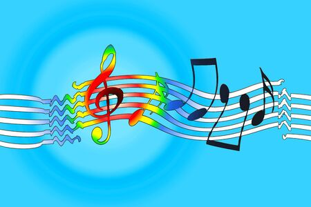 Joyful music background with dancing musical symbols