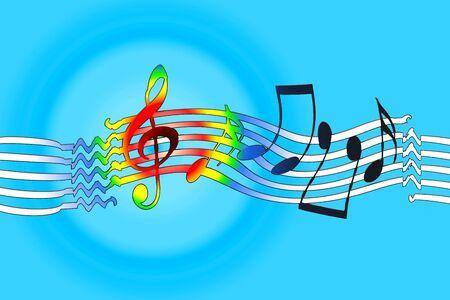 rhythm rhythmic: Joyful music background with dancing musical symbols