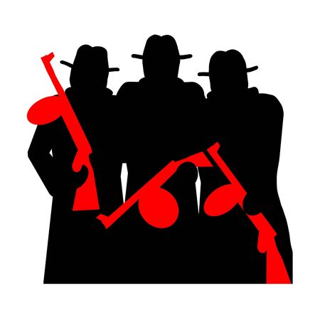 gangsters: Gangsters with Tommy Gun silhouette illustration isolated over white background Stock Photo
