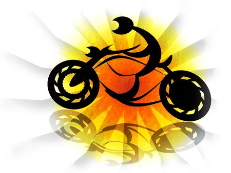 Biker on motorcycle in solar explosion, abstract bright illustration over white background illustration
