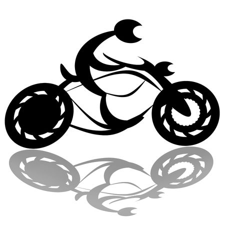 cruiser bike: Speed riding motorcyclist silhouette isolated over white background with shadow