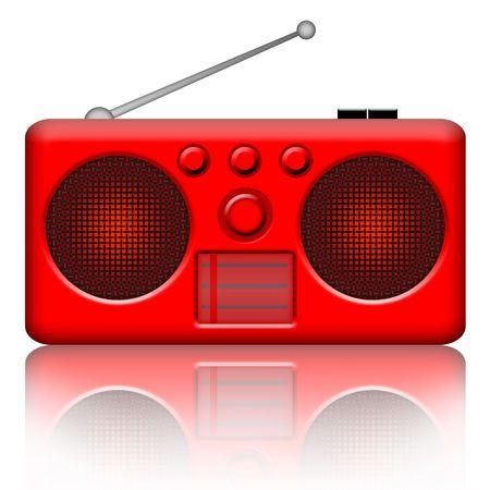 Radio stereo red retro receiver over white background photo