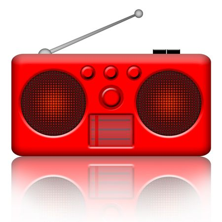 airwaves: Radio stereo red retro receiver over white background