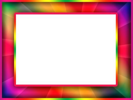 Bright motley colorful photo frame with blank white background inside Stock Photo