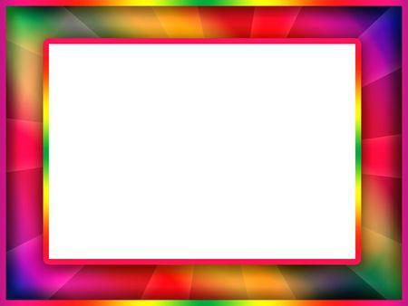 decorative border: Bright motley colorful photo frame with blank white background inside Stock Photo