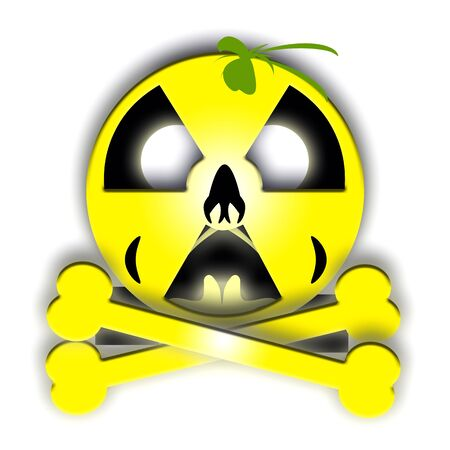 Halloween Jolly Rodger with nuclear styled pumpkin skull and bones Stock Photo - 8080884