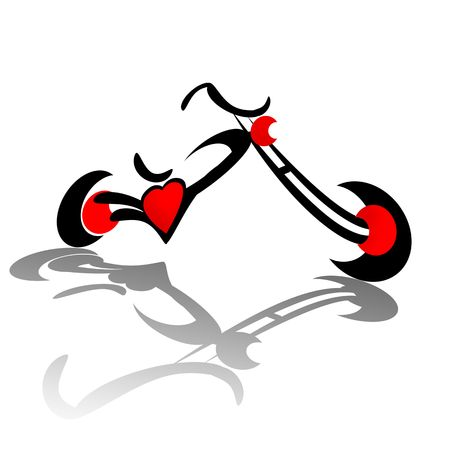 cruising: Chopper motorcycle with red heart engine illustration isolated over white background Stock Photo