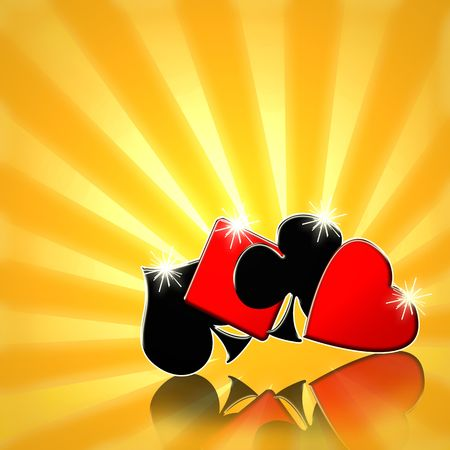 ace of diamonds: Playing cards suits bright yellow sunrise background Stock Photo