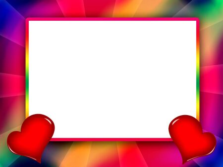 Colorful love frame with red hearts and white background inside photo