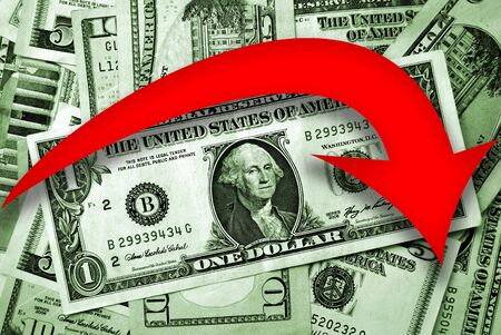 forex trading: Red arrow over pile of american dollars indicates falls